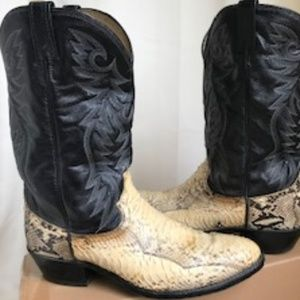 Men's Dan Post Leather Snakeskin Boots Sz 13D